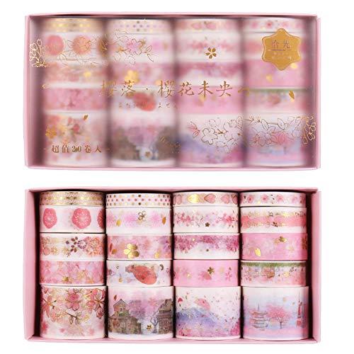 Lest Washi Tape Set de cinta adhesiva decorativa pastel para scrapbooking, diarios, manualidades, regalos, decoración, 20 rollos (rosa)