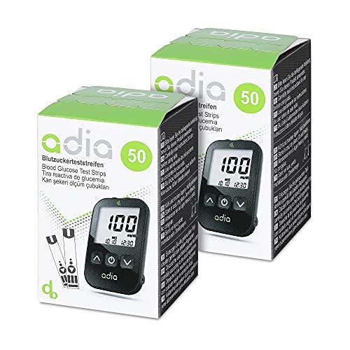 adia Blutzuckerteststreifen, 100 Stück, für das adia Blutzuckermessgerät – zur Kontrolle des Blutzuckers bei Diabetes