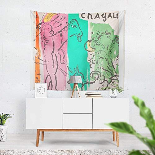 Tapiz - Adornos de Arte para Pared de Hogar, Pareo/Toalla de Playa Grande, Chic Decoración Habitacion 1 pieza, 130×150cm Pintura abstracta Chagall pintura de bocetos