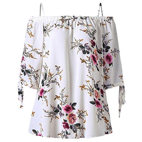 Women Plus Size Floral Classic Straps Cold Shoulder Regular Sleeve Blouse Shirt Top(White XL)