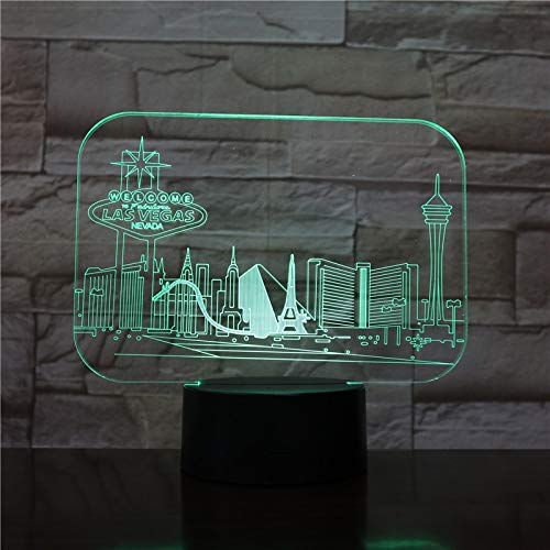 USB 3D LED Nachtlicht Stadt Las Vegas Atmosphäre Lampe Dekoration RGB Kinder Baby Geschenk Berühmte Gebäude Tischlampe Nachttisch Neon