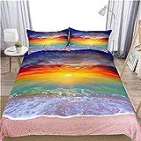 3D Rainbow Beach Bedding Set 3Pcs Cómoda Funda Nórdica Funda De Almohada Twin Full Queen King Size Ropa De Cama Funda De Edredón Decoración para El Hogar,228cmx228cm