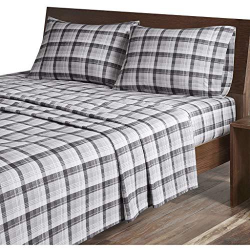 Woolrich Cabin Lifestyle, kalte Jahreszeit, gemütliches Bettwäsche-Set, passender Kissenbezug Lodge; Hütte Queen Grau kariert