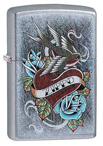 Zippo Vintage Tattoo Winddichtes Feuerzeug, Chrome, Regular
