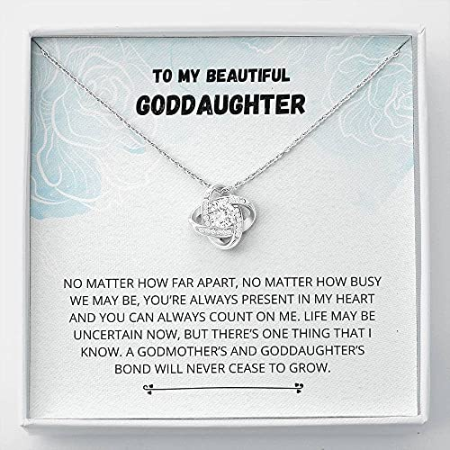 Personalized Necklace Gift, Goddaughter Gifts from Godmother- Goddaughter Baptism, Goddaughter Love Knot Necklace, First Communion, Girl Birthday, Christening, With Message Card & Box V23