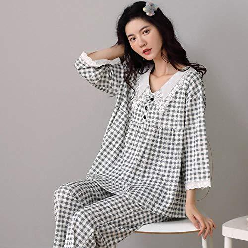 B/H Pijamas cómodos Set,Pijamas de Mujer, algodón, Ropa de casa Suelta de Dos Piezas-C_Medium
