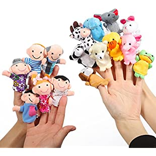 Twister.CK Finger Puppets Set Story Time 16 Pcs - 10 Animals and 6 People Family Members Puppets Toys Cute Dolls for Children, Shows, Playtime, Schools