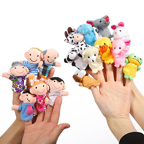 Twister.CK Finger Puppets Set Story Time 16 Piezas - 10 Animales y 6 Personas Miembros de la Familia Puppets Toys Cute muñecas para niños, espectáculos, Tiempo de Juego, escuelas