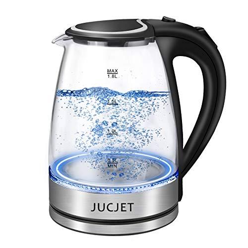 Wasserkocher, JUCJET 1,8 Liter Schnurlos Glas Wasserkocher, 2200W tragbarem Elektro-Warmwasserkessel, automatische Abschaltung und Überhitzungsschutz, 304 Edelstahl Innendeckelund -boden (BPA-frei)