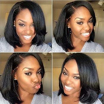 ten chopsticks Italian Yaki Short Bob Human Hair Lace Front Wigs For Black Woman Bob Wigs Side Part Brazilian Hair Pre Plucked Front Lace Wigs 10Inch