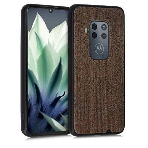 kwmobile Hülle kompatibel mit Motorola One Zoom - Handyhülle Holz TPU Cover - Indische Sonne Dunkelbraun