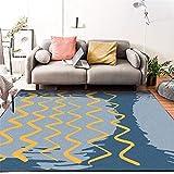 Fácil de Limpiar Facil de Mantener habitación de los niños La Alfombra Alfombra de Sala de Estar de diseño de línea de Onda de Graffiti Minimalista Azul Amarillo Sin formaldehído Alfombras 200*300cm