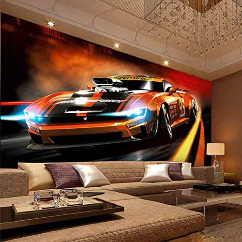 Papel pintado moderno creativo amarillo coche deportivo 3D póster estereo salón dormitorio dormitorio dormitorio diseño interior cuadros pared tapiz de papel de pared 430 x 300 cm