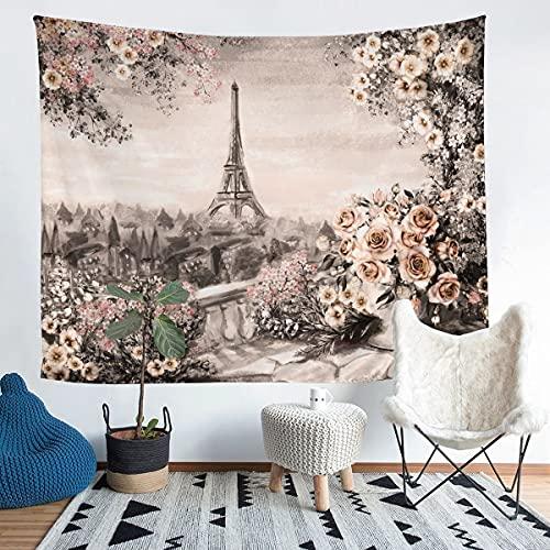 Tapiz de la torre Eiffel para colgar en la pared, vintage Paris francés para niños, niñas, adolescentes, rosa, tapiz de pared, flores de flores, arte de pared para dormitorio, sala de estar, 152 x 201