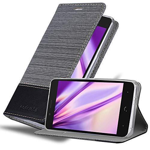 Cadorabo Hülle für BQ Aquaris X5 Plus in GRAU SCHWARZ – Handyhülle mit Magnetverschluss, Standfunktion & Kartenfach – Hülle Cover Schutzhülle Etui Tasche Book Klapp Style