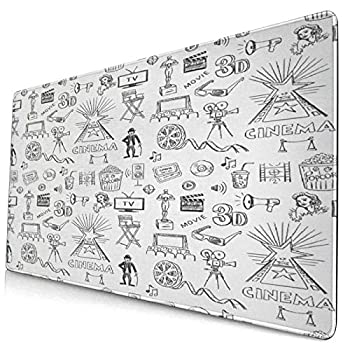 CANCAKA Large Gaming Mouse Pad,Hand Drawn Style Cinema Design and Old Camera Movie Theater Black and White,Non-Slip Rubber Mouse Pads Mousepad for Gaming Computer Office Desk,75×40×0.3cm