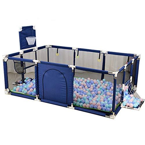 YQZ Baby-Laufstall, tragbarer Kinderschutzzaun mit Basketball- und Fußballnetz, geeignet für Kleinkinder im Innen- und Außenbereich,Blau