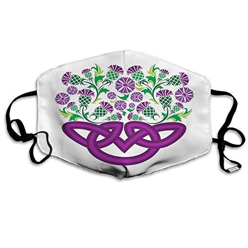 TABUE Gezicht Guard Mond Cover Keltische Knoop En Thistle Plant In Mand Vorm Met Bloemen