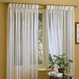 IYUEGO Linen White Solid Sheer Curtains Pinch Pleated Top with Custom Multi Size 72' W x 84' L (Two Panels)