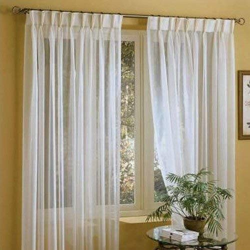 """IYUEGO Linen White Solid Sheer Curtains Pinch Pleated Top with Custom Multi Size 72"""" W x 84"""" L (Two Panels)"""