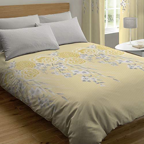 Catherine Lansfield Oriental Blossom Nórdica + Funda de Almohada Cama 90 cm, Cotton, Amarillo, 160 x 220 + 50 x 110 cm, 2