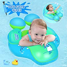 LAYCOL Baby Swimming Float Inflatable Baby Pool Float Ring Newest add Tail no flip Over for Age of 3-36 Months (Blue, L)