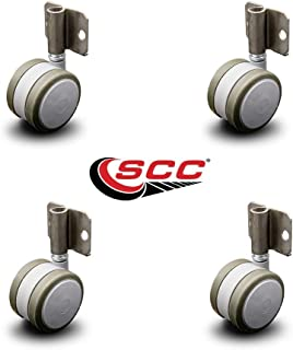 """Side Mounting Casters - 2.375"""" Gray Twin Wheels - Hardwood Safe Non Marking - Set of 4 - Service Caster"""