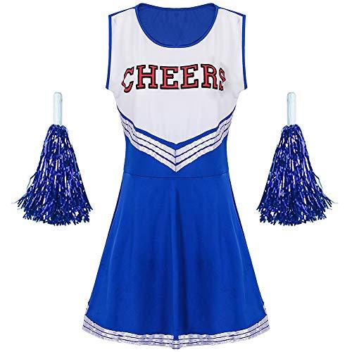 G-Kids Damen Mädchen Cheerleader Cheerleading Kostüm Uniform Karneval Fasching Party Halloween Kostüm Kleid Minirock mit 2 Pompoms Blau M