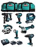 MAKITA Kit MK701 (DDF482 + DHR171 + DGA504 + DTD152 + DJV182 + DSS610 + DML802 + 2 Batterie 5,0 Ah + Caricabatterie + 2 x LXT600)