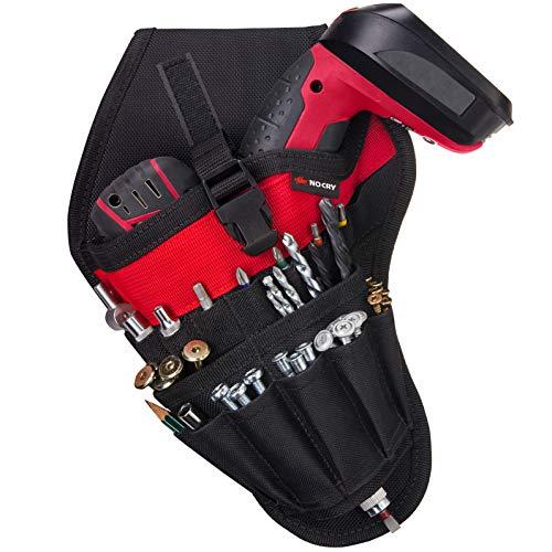 NoCry Werkzeughalter für Linkshänder | Akkuschrauber Werkzeuggürtel mit 17 Zubehör-Taschen und Schlaufen für Werkzeuge und Bits | Schneller Zugriff | Gürtel-Befestigung