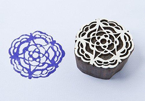 Blockwallah Stempel aus Holz mit Sternen, Kreisform