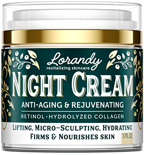 Lorandy Night Cream - Made in USA - Anti Aging Rejuvenating Moisturizer with Collagen Retinol - Moisturizes for Softer Smoother Skin as You Sleep - Reduces Wrinkles - Healthy Revitalizing Skincare