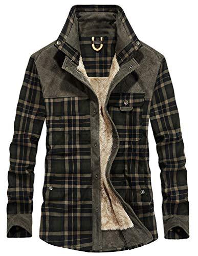 Lavnis Men's Cotton Shirt Jacket Button Down Shirts Casual Corduroy Thicken Fleece Shirt Coat Black XS