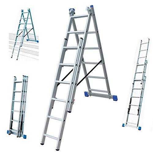 Multifunktionsleiter, Klappleiter 2,42m, Stehleiter 3,40m