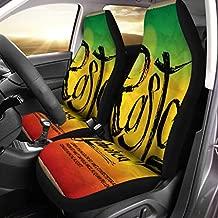 Semtomn Car Seat Covers Green Reggae Rasta Jamaica Colors Unique Red Grungy Set of 2 Auto Accessories Protectors Car Decor Universal Fit for Car Truck SUV