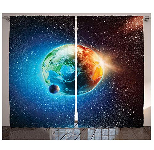 MUXIAND ruimtedecoratie gordijnen planeet aarde in zonnestralen elementen astronomie sfeer hemel satellit maan maanafbeelding