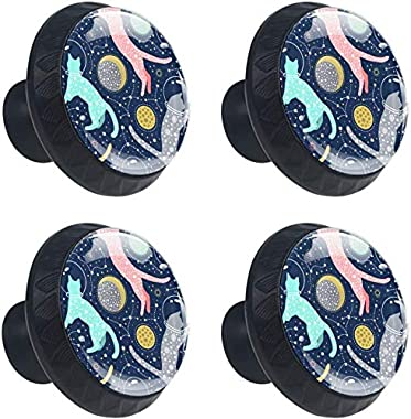 """4 Pack Round Cabinet Hardware Knob Cats Astronauts in Helmets Floating in Space - 1-37/100"""" Diameter - knobs for Dresser Drawers"""