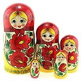 Azhna 5 muñecas rusas de 17 cm, colección de decoración para el hogar, estilo clásico, pintadas a mano, muñeca rusa de madera, color amarillo y rojo