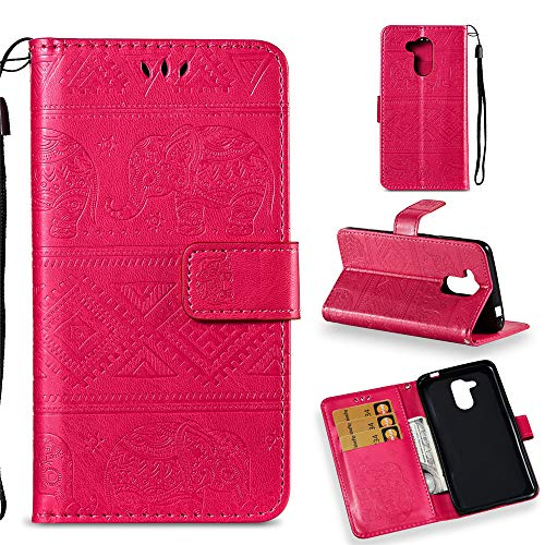 Honor 6C Pro Wallet Custodia,BestCatgift [Embossed Elephants] Magnetic Protective PU Leather Flip Folio Cover per Huawei Honor 6C Pro/Honor V9 Play - Rose Red