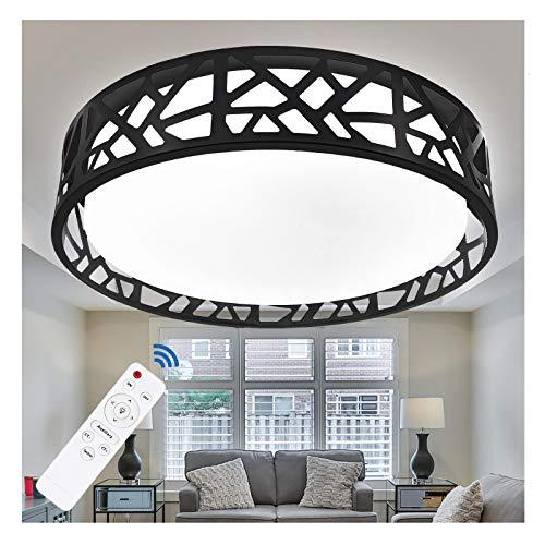 Flush Mount Ceiling Light Fixture, 15 Inch Ceiling Light for Bedroom, Flush Light Remote Dimmable, 20W 3200 Lumens 3000K-6500K (3 Color Temperatures), LED Flush Mount Light Fixture for Hallway (Black)