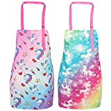 Bassion Pack of 2 Kids Apron, Rainbow Unicorn Kids Cooking Aprons, Adjustable Kids Aprons for Girls Gifts (Unicorn,Small,3-5Years), Multicolor Purple