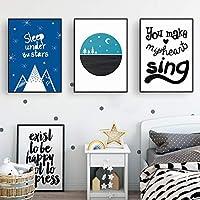 星空の下での漫画の睡眠ムーンブルースカイ保育園の装飾キャンバス絵画北欧のポスタープリント壁アート写真キッズルームの装飾-60x90cmx3フレームなし