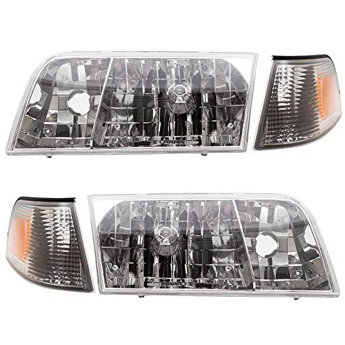 Brock Replacement 4 Pc Set Headlights with Park Signal Side Marker Lamps Driver...