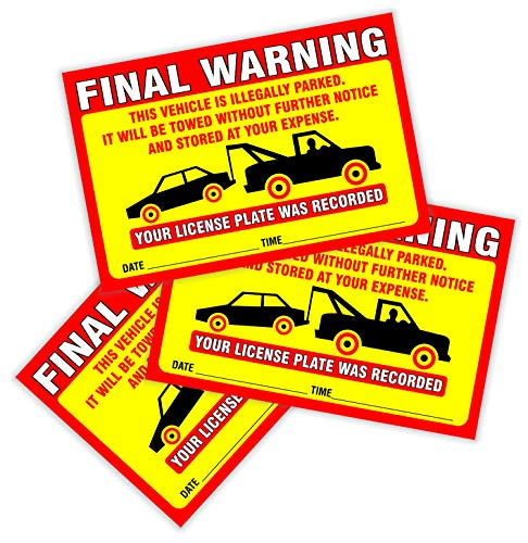 """Final Warning Stickers (Pack of 50) Parking Violation Notice Vehicle is Illegally Parked - Large Size 6"""" X 9"""" – Yellow Photo #4"""