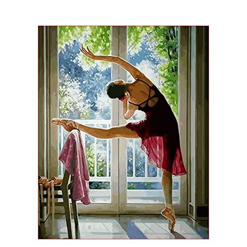 JWFJF Pintar por numeros Adultos Bailarina de Ballet de Sol DIY Pintura al óleo Kit lienzos Niños y Principiantes acrilicas Cuadros Manualidades Decoracion Regalo 40x50 cm(Sin Marco)