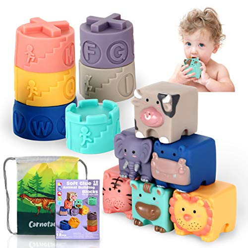 Soft Blocks for Baby 6 to 12 Months and Up ,Sensory Babies Bath Toy, Infant Stacking Cup, Building Blocks for Boys& Girls Teething Toy Play, Activity Gym, Animal Squeeze Block Set 12Pcs