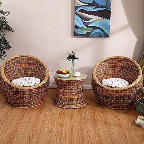 Équipement quotidien Ensembles de meubles de porche de patio Ensemble de 3 chaises en osier Ensemble de table et de chaises de balcon Table basse Chaise en rotin Terrasse Cour extérieure Jardin Tab