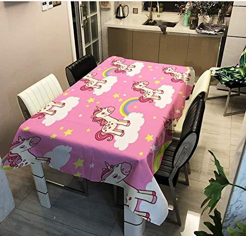 YUIP Mantel Cuadrado Impermeable Mantel con Patrón de Unicornio Mantel Impermeable con Patrón de Unicornio Mantel Lindo con Patrón de Unicornio Rosa