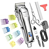 oneisall Dog Clippers for Grooming Professional Cordless Hair Shears Trimmers for Thick Coats,8 Guide Guards with Metal Blade for Dogs and Cats Animals