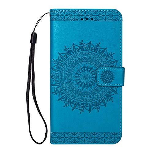 Galaxy S9 Plus Hülle, SONWO Premium Prägung Mandala PU Lederhülle Flip Brieftasche Hülle Cover Schale Ständer Etui Wallet Tasche Case Schutzhülle für Samsung Galaxy S9 Plus, Blau